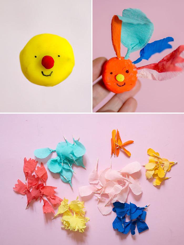 fleur en pate fimo et pétales de fleur en cure dent et papier de soie colorée, activité printemps maternelle facile