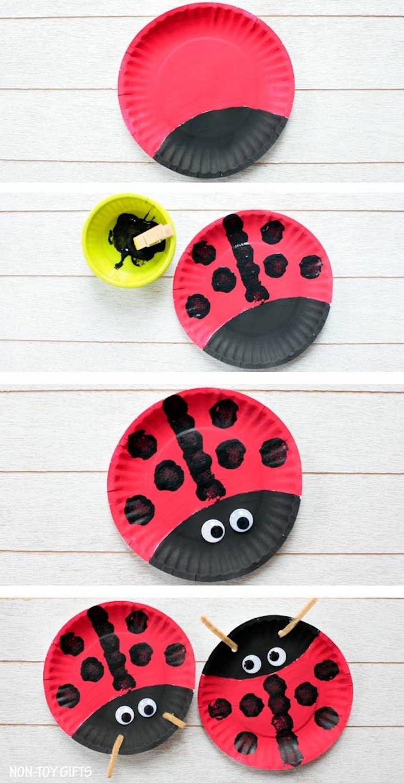 coccinelle réalisée en assiette de papier à pois noirs et des yeux mobiles et antennes en pince à linge, activité manuelle facile