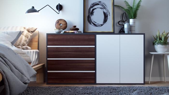 comment décorer une chambre adulte, modèle de commode personnalisable en gris anthracite avec portes bois et blanc
