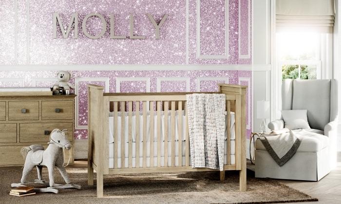 comment décorer une chambre petite fille avec murs roses à effet pailleté, exemple enduit glitter pour une chambre bébé