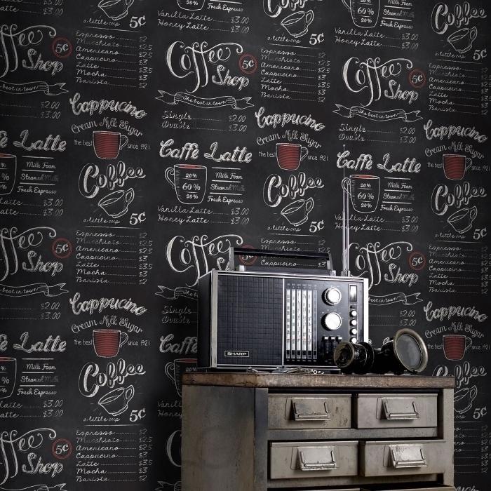 idée décoration murale à effet craie noir, exemple revêtement mural pour cuisine à texture ardoise, peinture ardoise intérieur
