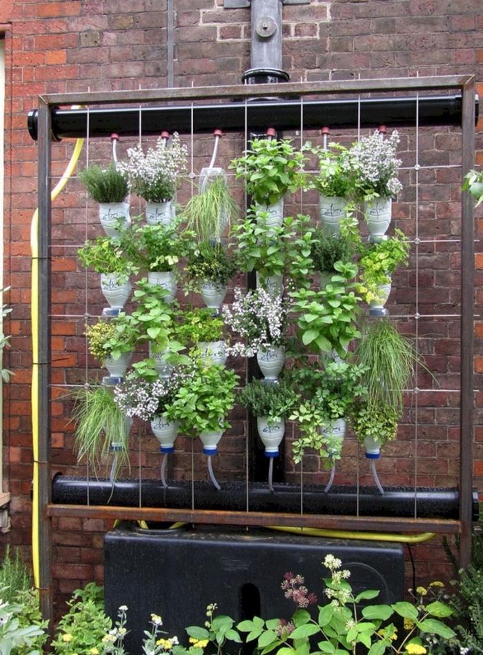 aménager un jardin en hauteur avec des bouteilles en plastique recyclées en colonne