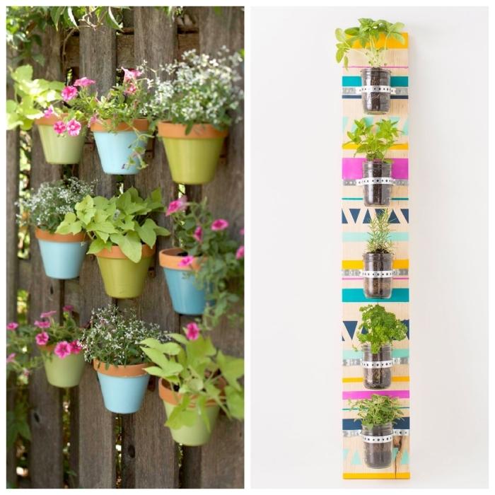 réaliser un petit jardin d'aromatiques en fixant les pots sur un support ou directement sur le mur, idée pour aménager jardin en hauteur à l'extérieur ou à l'intérieur