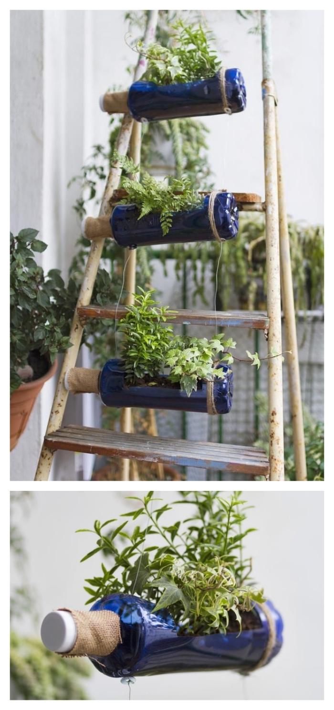 réaliser un potager sur balcon avec des bouteilles en plastique recyclées suspendues sur une échelle en bois récup