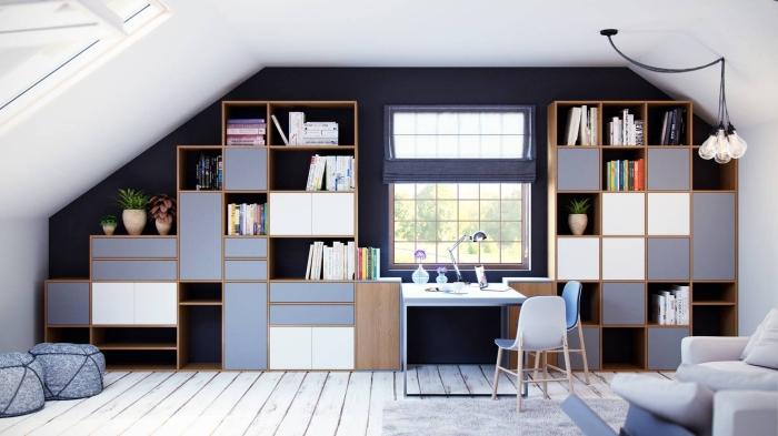 comment optimiser l'espace dans une pièce sous combles, choix de meuble modulable avec rangements ouverts et fermés, meuble personnalisable