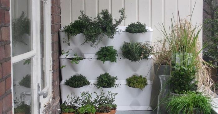 une jardiniere balcon gain de place à trois niveaux, des modules à assembler pour créer un mur végétal ou un jardin vertical