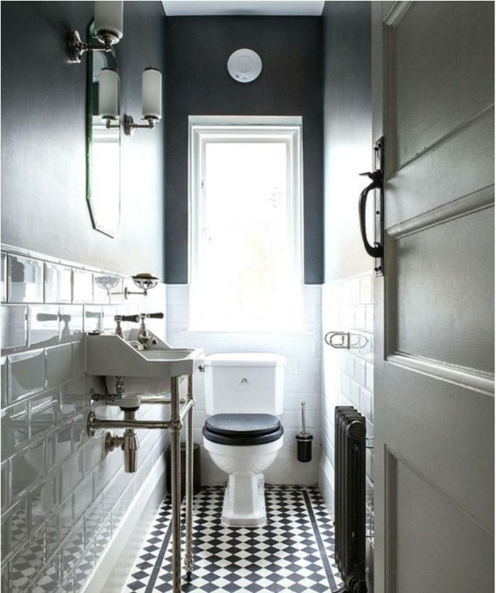 sol de wc noir et blanc, carrelage blanc, mur gris, vasque blanche, decoration wc élégante