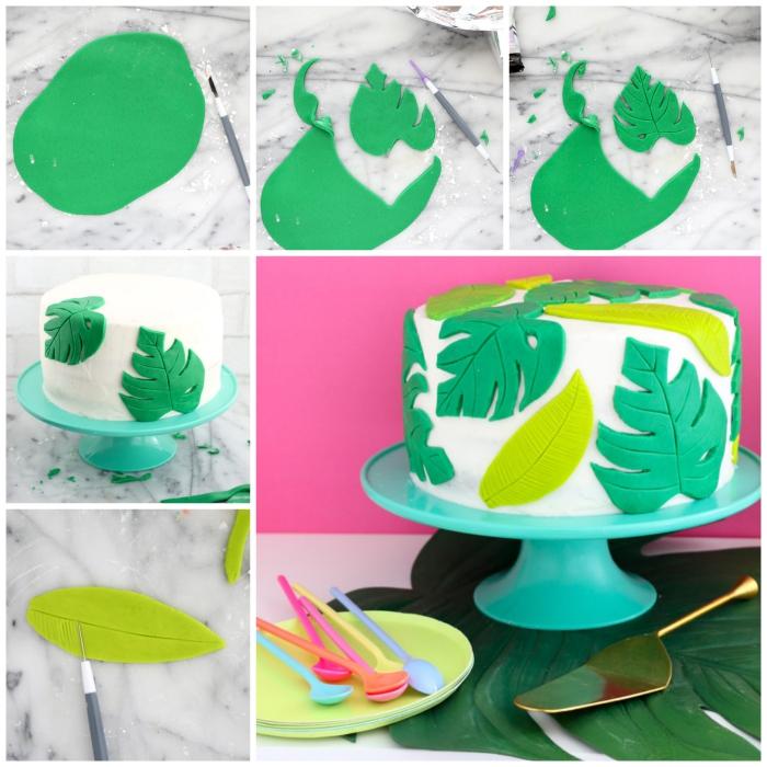 gâteau d'anniversaire au glaçage blanc décoré de feuilles tropicales en pâte à sucre, deco pate a sucre originale pour un gâteau tropical