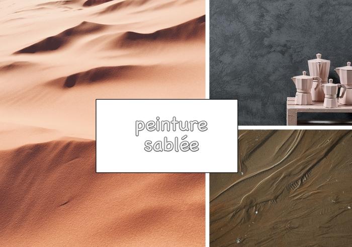 exemple de peinture à texture sable, idée revêtement mur dans un salon en gris foncé avec accessoires en rose mate