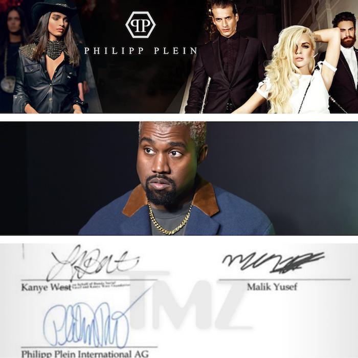 collage PP KW yeezy et fausse signature pour illustrer Philipp Plein arnaqué de 900000 pour un faux concert de Kanye West à la fashion week de nyc