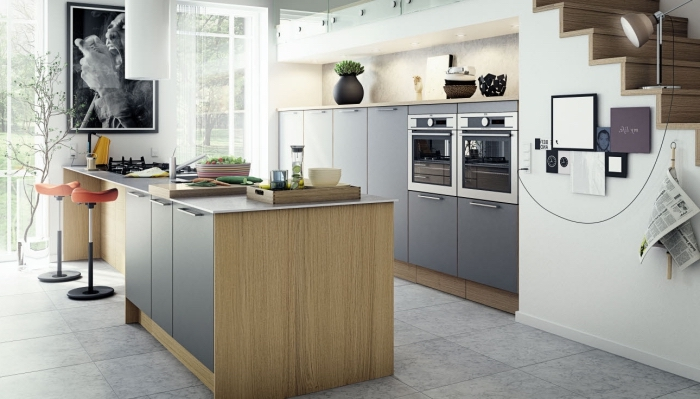 idée cuisine bois et blanc au plancher carreaux gris, déco petite cuisine contemporaine avec meubles bois et gris