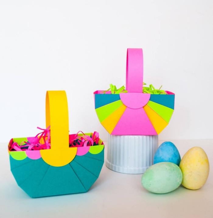 exemple de bricolage de paques pour tout petit, créer un panier pour oeufs en papier cartonné, diy panier facile
