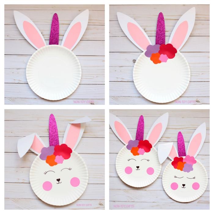 faire une tête de lapin licorne en assiette jetable, deco table paques facile à fabriquer, corne en papier lilas brillant