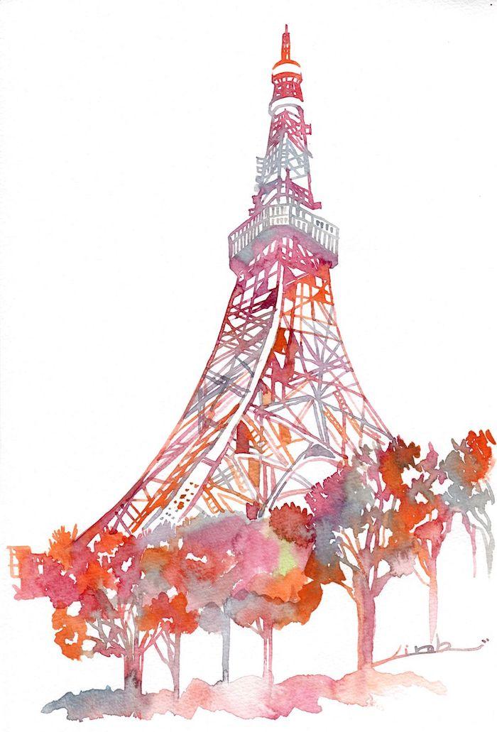 Tokyo tour rouge, belle image aquarelle dessin de ville, beau dessin de paysage original inspiration artiste