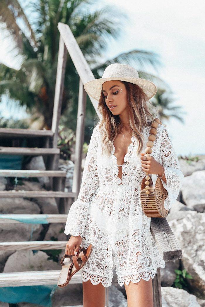 Robe courte d'été, combi-short dentelle pour la plage, robe bohème chic dentelle, idée comment s habiller quand il fait chaud