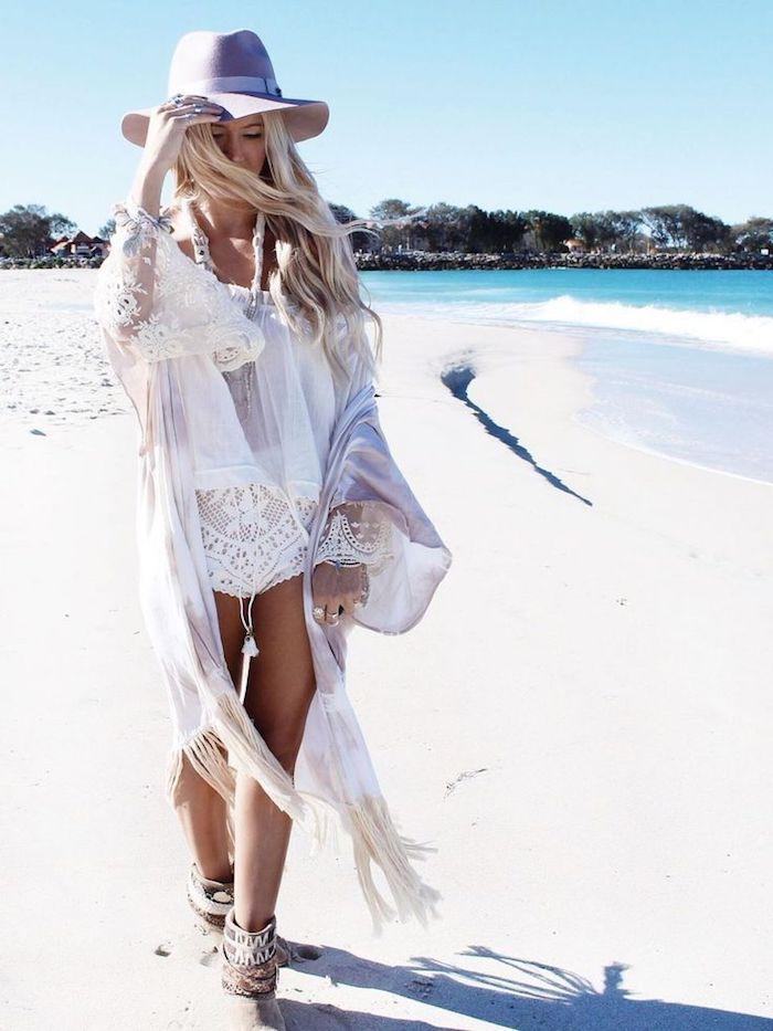 Tenue robe hippie chic pour femme à la plage, ensemble bohème chic dentelle pantalon court, femme style bohème