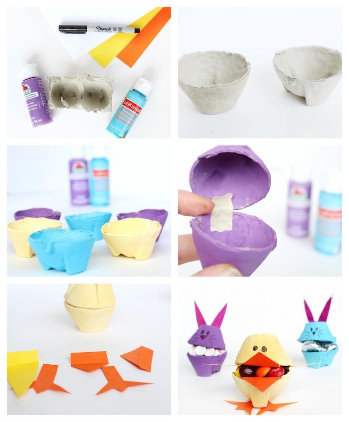 idée activité manuelle paques, boite à bonbons et friandises en alévoles de boite à oeufs recyclée colorées avec deco de papier coloré pour figurer motif lapin de paques et poussin