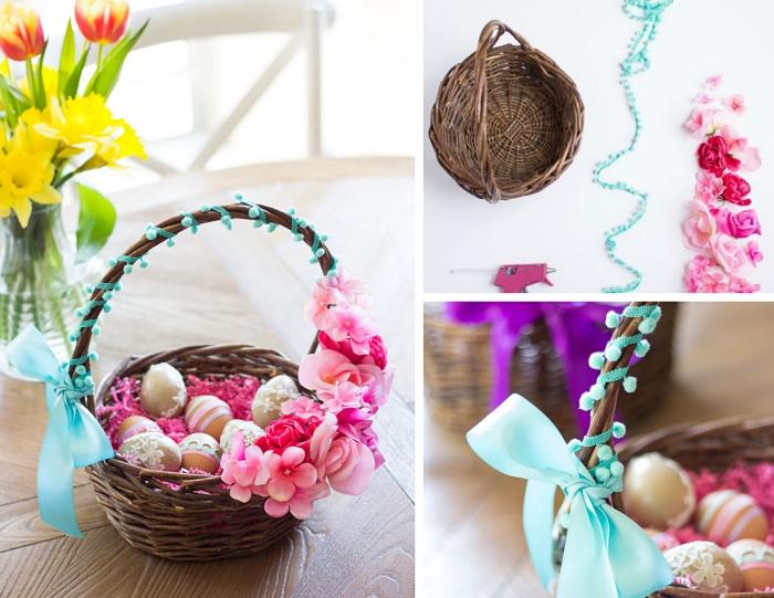 comment décorer un panier tressé naturel avec mini pompons et fleurs, exemple de deco paques a faire soi meme