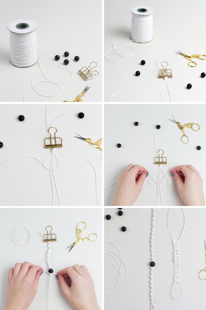 étapes à suivre pour créer un bijou, diy bracelet en corde blanche, comment faire un noeud toursadé facile
