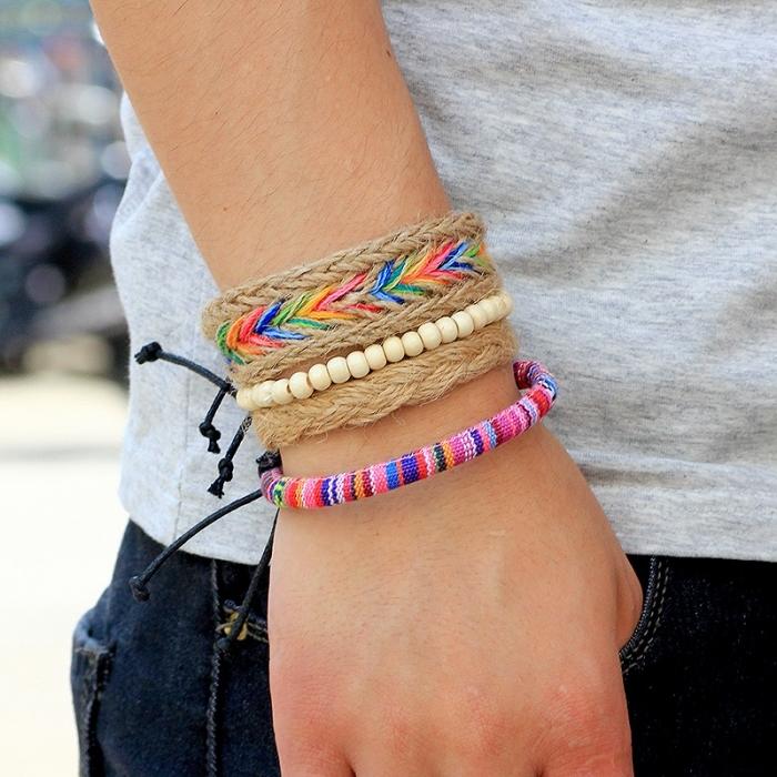 diy bijoux unisexe, modèle de bracelet tressé en fils macramé, technique macramé pour faire de bijoux originaux