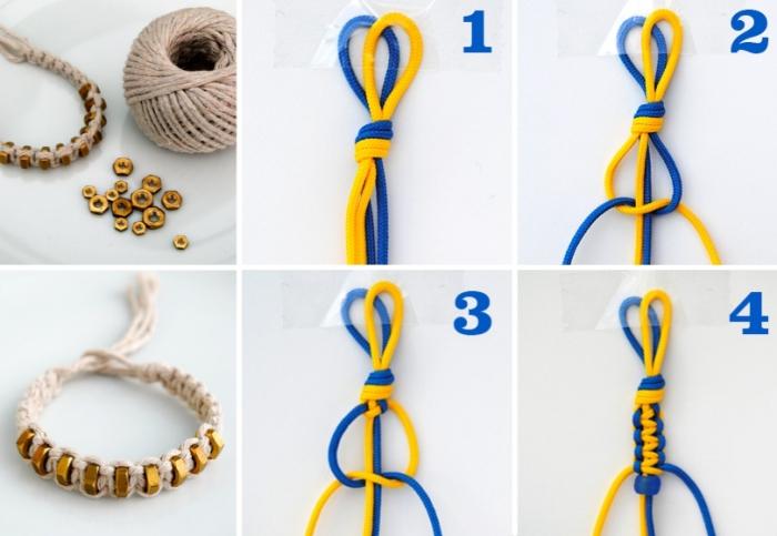 tutoriel pour fabriquer un bracelet en fil macramé avec ornements dorés, comment faire un noeud plat en deux couleurs