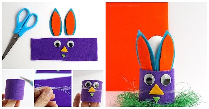 support pour oeuf de paques en feutrine violette avec des yeux mobiles, moustaches oreilles en feutrine, activité manuelle primaire
