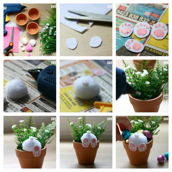 decoration paques, pot de fleur, lapin curieux en pompons blancs avec pattes sortant du rebord du pot de fleur
