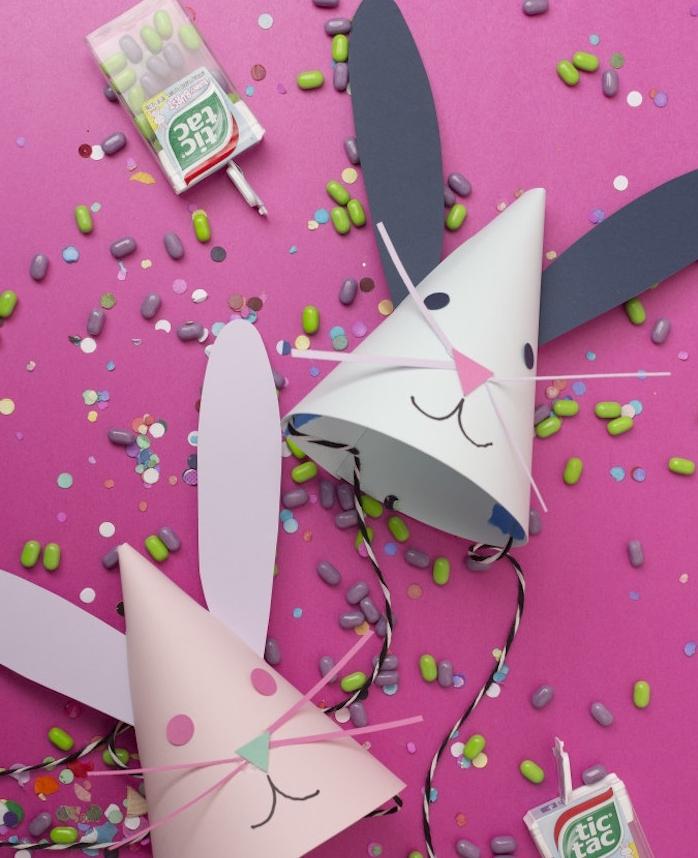 idee de chapeau à motif lapin en papier en forme de cône, activité paques facile et rapide pour tout petit