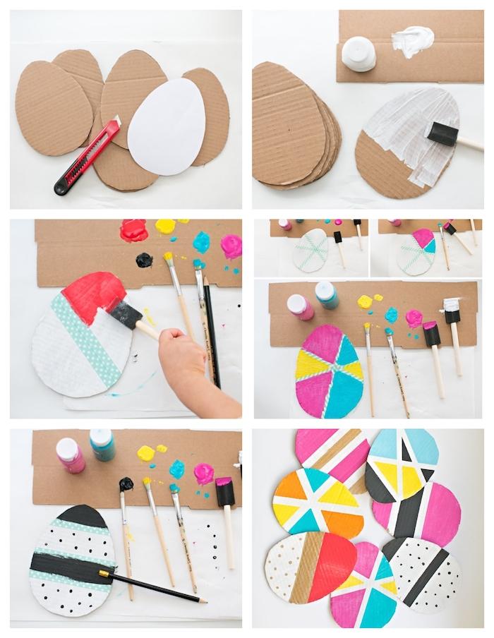 bricolage de paques pour tout petit, oeuf en carton ondulé repeint à motifs géométriques en peinture colorée avec washi tape