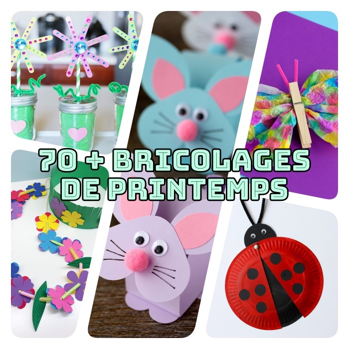 exemples de bricolage printemps, lapin en papier, fleurs en batonnets de glace, couronne de fleurs, papillon, coccinnelle papier pincé à linge et assiette de papier