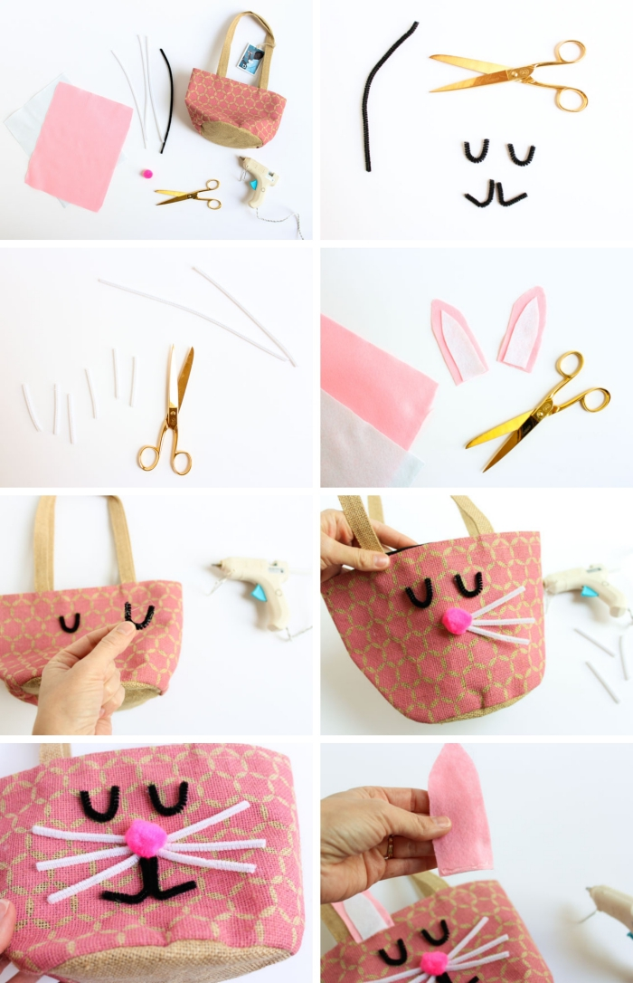 étapes à suivre pour créer un sac panier pour pâques, customiser un sac cabas, bricolage paques facile avec panier en tissu