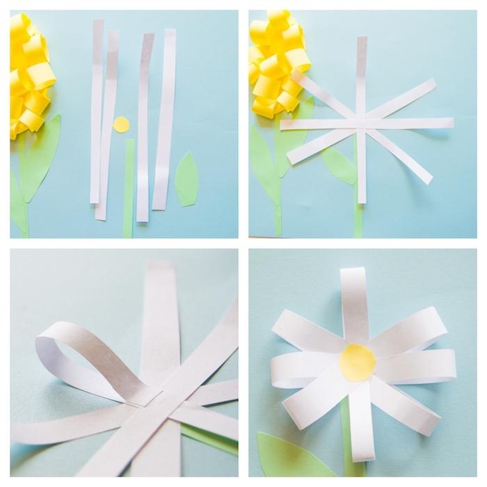 comment faire une fleur marguerite blanche en bandes de papier blanc et centre de cercle jaune, activités manuelles
