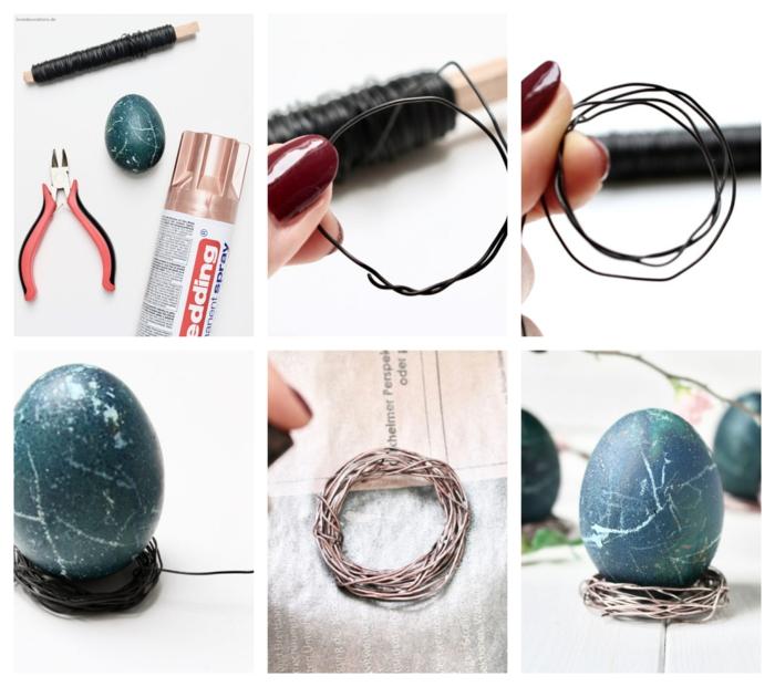 oeuf teinté marbré, coquétier à oeuf en fil de fer, activité de paques, decoration paques facile