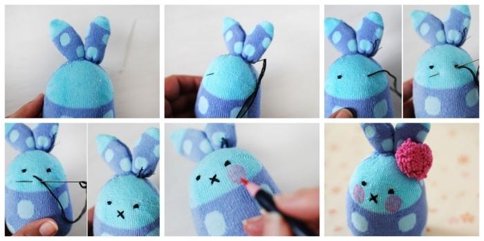 fabriquer un lapin en chaussette et rembourrage moelleux, activité manuelle paques, lapin de paques