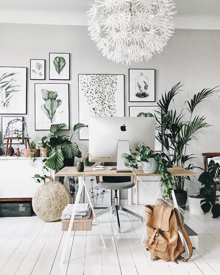 Chambre tumblr décoration style scandinave, blanche chambre avec déco murale, mur de peintures de plantes vertes, chambre ado fille