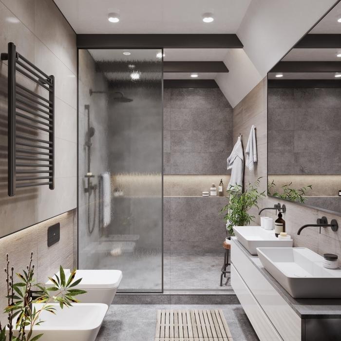 idée couleur salle de bain moderne, déco petite salle de bain aux murs imitation béton avec cabine de douche à séparation en verre