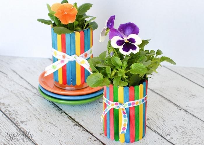 cache pot en batonnets de glace colorés, décorés d un ruban a pois colorés avec une plante a l interieur, br