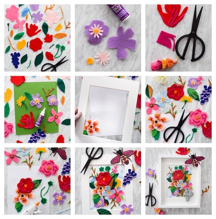 tableau de fleurs en feutrine dans un cadre blanc, activité manuelle primaire pour le printemps ou pour la fete des meres