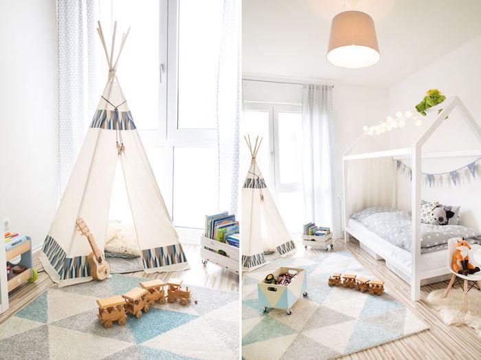 tipi enfant dans une chambre enfant en gris et vlanc, tapis gris, bleu et blanc, lit cabane décoré d une guirlande limineuse
