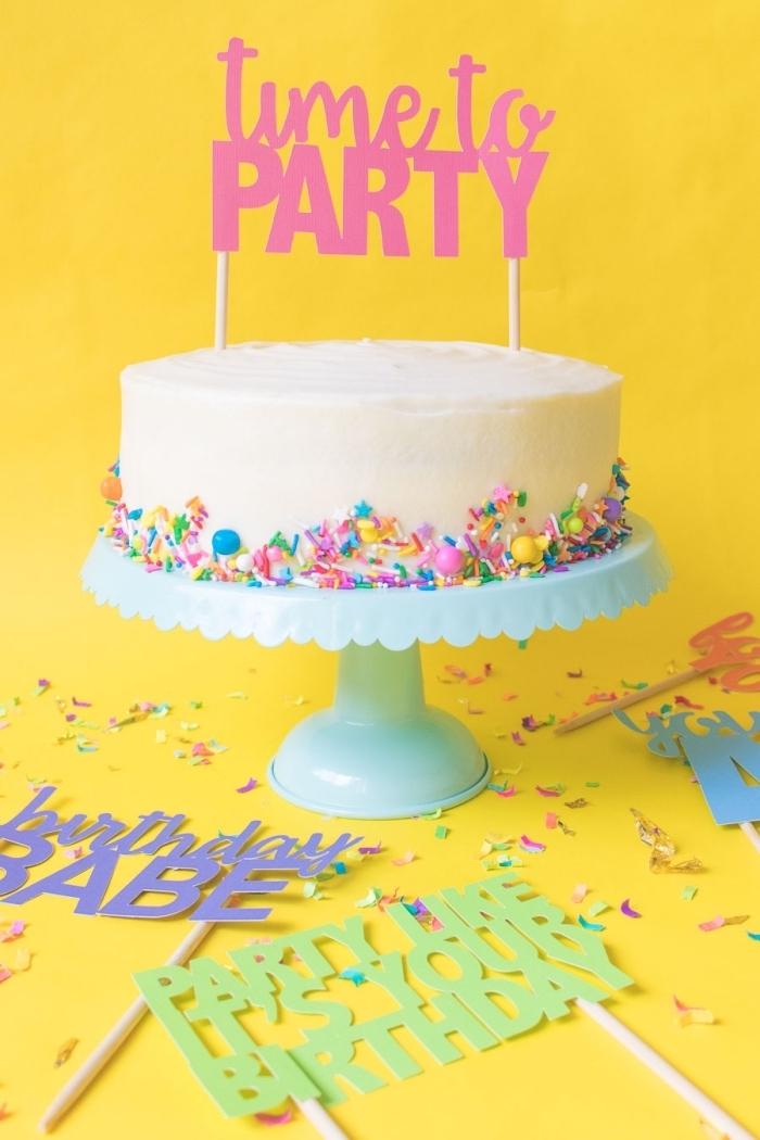 petite décoration pour gâteau d'anniversaire, cake topper rose