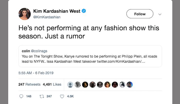 capture écran tweeter Kim Kardashian qui dément la venue de Kanye West à la fashion week de Philipp Plein, ce n'est qu'une rumeur