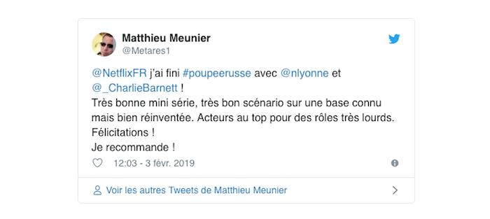 capture twitter avec avis positif d'un spectateur sur la série Netflix poupée russe avec Natasha Lyonne