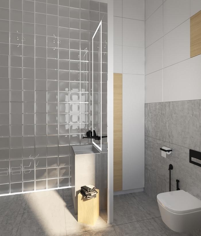 pinterest salle de bain, déco petit espace salle de bain avec cabine de douche, modèle cuvette wc suspendue