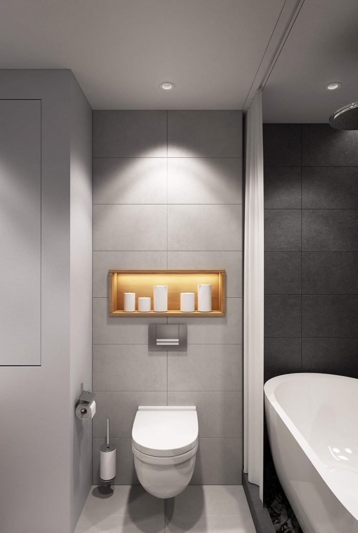 comment décorer une salle de bain en gris et blanc petit espace, modèle carreaux de bain de nuance gris anthracite