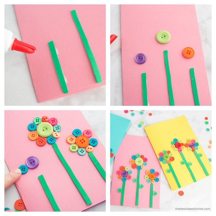 fleurs en boutons colorés et tiges de papier cartonné vert collés sur papier rose, jaune et bleu, activité manuelle primaire