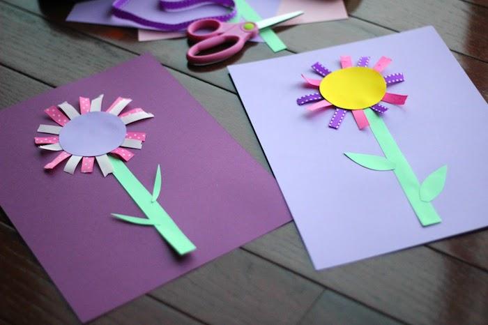 activité manuelle 2 ans facile, fleur en tige de papier, centre en cercle de papier et pétales de ruban collées autour