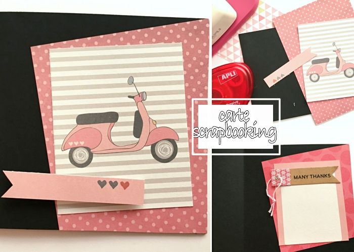 fabrication carte d'anniversaire pour fille, tuto scrapbooking facile, papier scrap de couleur rose pastel à dots blancs
