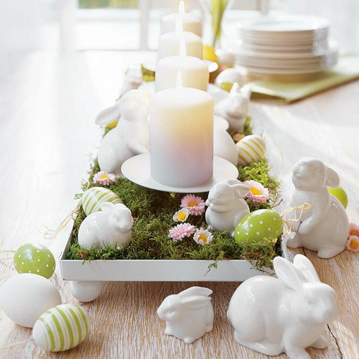deco table paques, un plateau blanc, bougies blanches, mis sur une mousse verte, lapins blancs en porcelaine