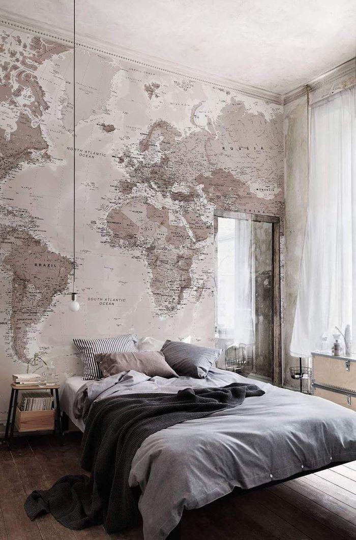 Mur plan du monde, belle décoration simple chambre rose pale et gris, deco chambre fille ado, deco chambre moderne hygge déco stylée