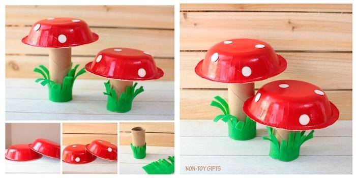 activité manuelle printemps,, champignon en rouleau de papier toilette recyclé enveloppée d herbe en feutrine et top en assiette de papier rouge décorée de pois blancs